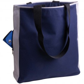Borsa shopper nylon con tasca laterale