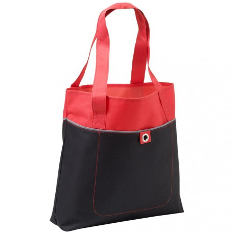 Shopping bag bicolore, tasca frontale, 600 d poliestere